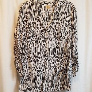 JM collections 100% linen black and white tunic